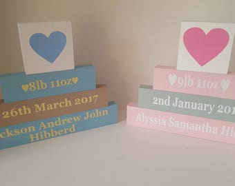 Stunning handmade personalised new baby gifts, stacking blocks, personalised, baby girl, baby boy. New baby