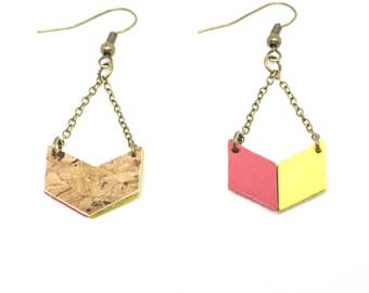 """""""The Malabar bi-gout"""" leather earrings pink fuchsia and fluorescent yellow has hand"""