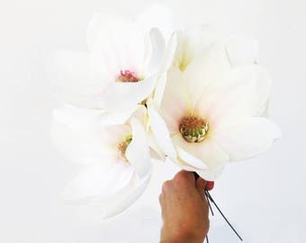 "10 Silk Magnolias Artificial Flowers Magnolia Flower Big White Pink 4.7"" Floral DIY Wedding Hair Accessories Flower Supplies Faux Fake"