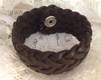 Upcycled Brown Braided Leather Cuff Bracelet