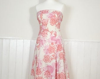 Vintage Strapless Floral Dress