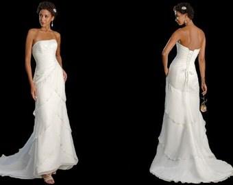 Chiffon Wedding Dress Bateau Style All Sizes. Ivory or White.