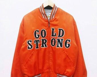 Hot Sale!!! Rare Vintage 90s MACHOPE GOLD STRONG Big Logo Baseball Jacket Hip Hop Skate Swag Medium Size
