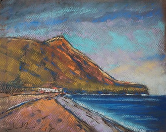 Coastal art painting, original painting, seascape painting,  pastel painting, original art, artistics gifts: The cape