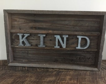 Reclaimed Wood Sign   Kind   Metal Letters