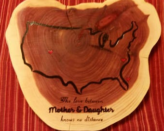 Woodburned Tree Slice Mother & Daughter Map