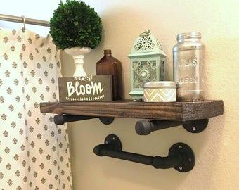 Industrial Floating Pipe Shelf and Hand Towel Rack