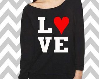 Love Valentine's Day Sweatshirt Oversized 3/4 Sleeve Sweatshirt Funny Valentines Sweatshirt Valentines Shirt XOXO Tee Valentines Day Shirt