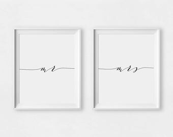 Mr And Mrs Print Gifts For Couple Wall Art Minimalist