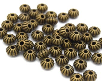 Spacers beads lanterns Bronze 8 mm set of 20/40/60/80/100 units
