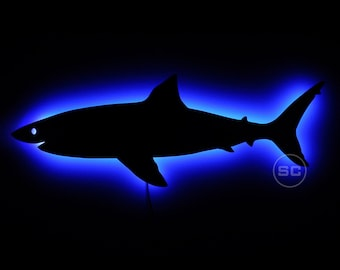 Shark Night Light Sign - Wall Hanging Shark Silhouette LED Lighted Wall Decor - Kid's Room Decor and More