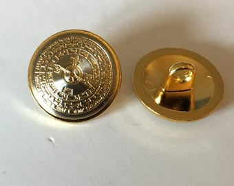10 round buttons, metal buttons, gold buttons, compass pattern, military buttons, vintage style buttons, 15mm metal buttons