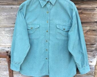 Marine teal Corduroy Womens Shirt Light button up Long Sleeve Light Blue Shirt Large Size