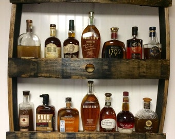 Bourbon Bottle Display Shelf. Great for Man Caves.