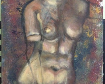 Stunning FRANCE EXPRESSIONISM ARTIST - Painting - Venus - acrylic canvas - french Artist - Antik from France
