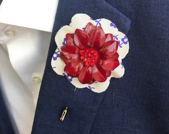Red Blooming DC Flower Lapel Pin