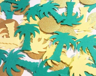 Palm Tree Tropical Confetti in Green, Yellow and Gold.