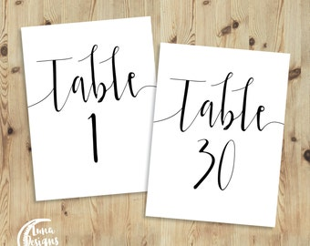 Printable Table Numbers / Jamie Swishy / Wedding Table Numbers / Table Numbers 1-30 / Instant Download / Black and White / Digital / A6