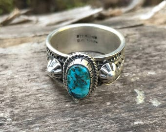 Turquoise Ring with Heavily Stamped Band