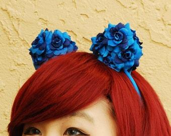 Floral Mouse Ear Headband | Flower Bear Ear Headband -- Blue
