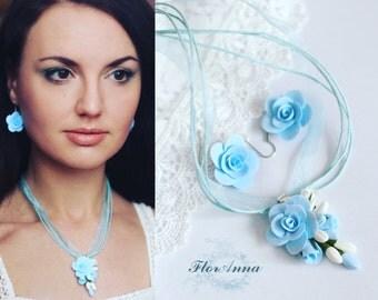 roses jewelery, blue roses earrings, roses pendant, bridesmaids gift, bride jewelery set, beach wedding, bridesmaids pendant, blue flower