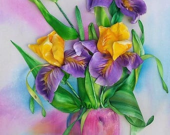 Picture embroidery ribbons. Iris.