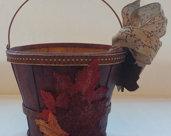 "Fall Wooden Gift or Planter Bucket ""BURGUNDY"""