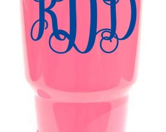 """Yeti Monogram Decal - 4"""" Vinyl Decal to Personalize Your Favorite Drink Cup"""