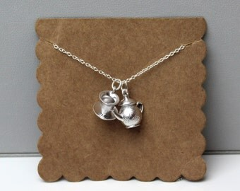 Silver Tea Party Necklace // dainty sterling silver necklace // with gift packaging