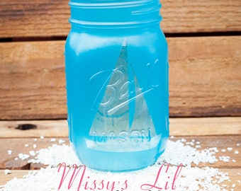Frosted Crystal Blue Sail Boat Mason Jar