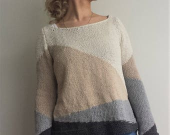 Hand Knit Sweater, Hand Knitted sweater, Long Sleeved, Knitwear, Cotton sweater, Handmade sweater, Handknit, Knitted womens sweaters