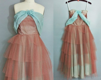 fairydust / 1950s layered tulle strapless prom dress / 2 4 extra small xs