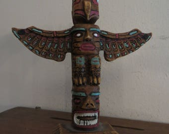 Alaska Totem Pole Hand painted w/ free ship