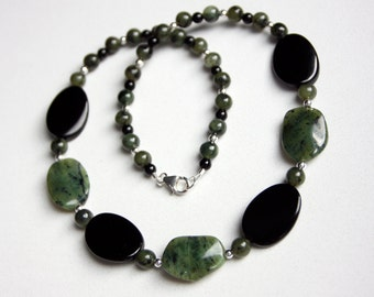 BC Jade Beaded Necklace with Black Jasper and Sterling Silver
