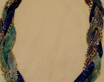 Necklace Mixed Media Blue & Gold Jewel Tones.  N1103