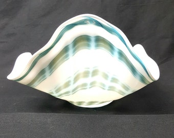Hand blown white and blue glass bowl-one of a kind gift