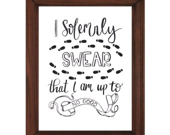 I Solemnly Swear That I am up to no Good | Watercolor Printable | Harry Potter Printable | Marauder's Map | Harry Potter Wall Art