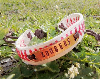 Baseball Bracelet, Stamped Baseball Bracelet, Name, Number, last minute gift