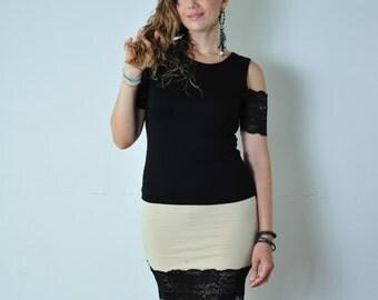 MARY Short skirt Beige with black lace,Tube Skirt Stretch,Black Larce skirt, Woman Skirt,Trend Skirt,Cotton stretch,Casual Skirt/SM-L
