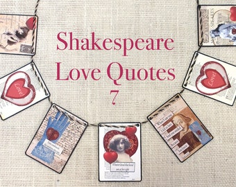 Shakespeare Love Quotes 7 Garland--garlands,  banners, bunting, wall decor,  mantel decor, Valentines, seasonal,  gifts