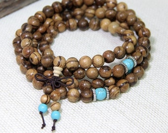 Mala Beads 8mm Agarwood 108 Mala Beads Necklace Sandalwood Mala Beaded Wrap Bracelet Wood Prayer Beads Wood Mala Buddha Meditation Jewelry