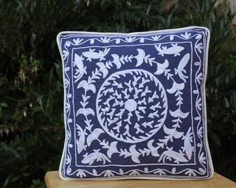SALE. Decorative colorful cushion covers, hand embroidery cushion cover, blue decorative pillow case, Suzani cushion covers