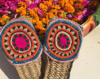 Natural handwoven slippers, healty foot wear, bohemian sandals, PS007