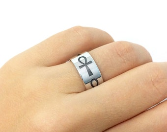 Ankh Silver Band Ring, Ankh Ring, Ankh Jewelry, Engraved Ankh Ring, Egyptian Symbol Ring, Promise Ring, Key of Life Ring, Wedding Band Ring