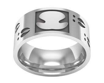 Sterling Silver Deer Nose Print Ring, Deer Footprint Band Ring, Deer Ring, Deer Hunting Ring, Wedding Band Ring, Silver Man Ring