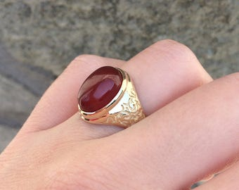 14K Solid Gold Cornelian Signet Ring, Custom Signet Ring, Custom Signet Ring, Oval Signet Ring, Gold Signet Ring, Cornelian Jewelry