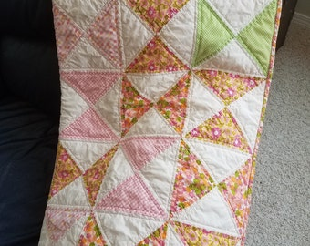 New Lower Price! Homemade quilts handmade quilts baby girl quilt quilts for sale new baby gift Baby girl Flower Power Hourglass Quilt