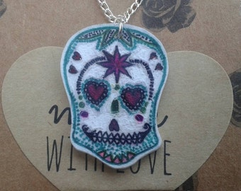 Sugar Skull Day of the Dead necklace pendant