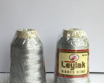 oya lace crochet polyester no50 thread color silver metalic for crochet needle no 21 / 0,55 - 50 gr