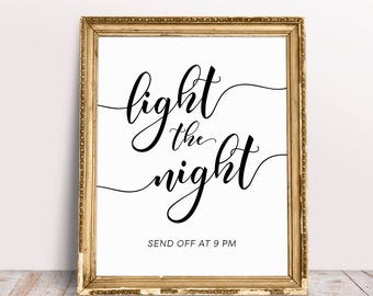 Light The Night, Custom Wedding Signs, Light Up Sign, Sparkler Sign, Sparkler Send Off Sign, Custom Signs, Sparkler Send Off, Wedding Prints